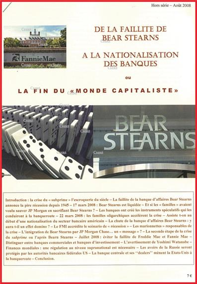 De la faillite de Bear Stearns à la nationalisation des ...